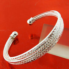 BANGLE BRACELET CUFF GENUINE REAL 925 STERLING SILVER S/F SOLID BEAD DESIGN