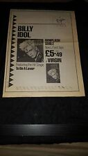 Billy Idol Rare Whiplash Smile Virgin Records Uk Promo Poster Ad Framed!