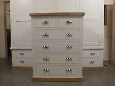 BUCKINGHAM PAINTED 4+2 CHEST OF DRAWERS - SOLID OAK TOP- BESPOKE- ALL WHITE