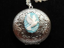 ANTIQUE SILVER DOVE CAMEO LOCKET  LARGE