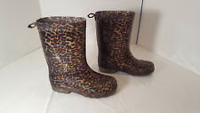 CAPELLI GIRLS RAIN BOOTS, KIDS SIZE 1 2, 1/2 Animal Leopard Print Brown
