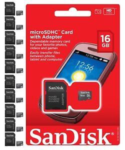 SanDisk 16 GB 16G MicroSD SDHC SD TF Flash Memory Card Adapter Wholesale Lot 10