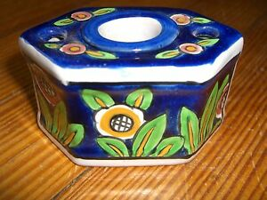 """Antique ALADIN FRANCE FAIENCE BLUE WHITE POTTERY hexagon INKWELL 1 7/8"""" X 3 1/4"""