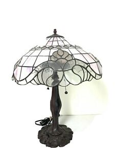 """Tiffany Style 24"""" Tall Floral Geometric Pink Stained Glass Table Lamp 18"""" Shade"""