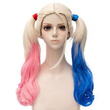 Suicide Squad Perücke wig von Harley Quinn Cosplay Kostüm Blond Rosa Blau Lang