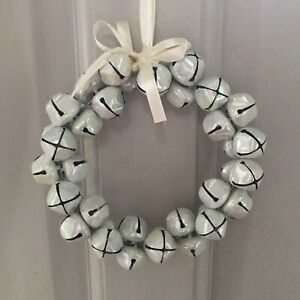Christmas Chunky White Irridescent Large Bell Wreath