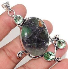 """Large Pendant 3"""" Gift Jewelry Gw Purple Fluorite Peridot 925 Silver Plated"""
