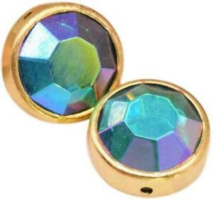 Swarovski Glass Aurora Borealis Emerald Rondelle Beads Faceted in Bezel 12 mm