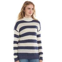 LC Lauren Conrad Womens Blue Cream Stripe Mock neck Long Sleeve Sweater Sz XXL
