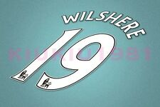 Arsenal Wilshere #19 PREMIER LEAGUE 07-13 White Name/Number Set