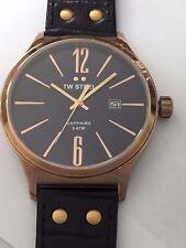 Genuine TW Steel Men's Slim TW1303 Watch On Black Leather Strap 45 mm
