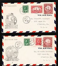 Canada 1st Flight 1934 Kenora - Red Lake & BACK Air Mail TWO COVERS 3v