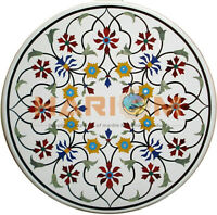 """28"""" White Marble Side Coffee Table Top Multi Floral Marquetry Inlay Decors W387"""