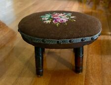 Antique Primitive FOOT STOOL 4 SPINDLE Legs Roses Needlepoint Top Beautiful!