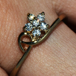 Vintage 9K Gold Filled Crystal CZ Flower Ring for Womens Female Ladies Size 8