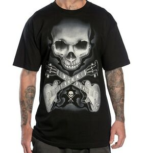 SULLEN CLOTHING ROCK BADGE SKULL GUITAR MUSIC TATTOO PUNK INK BLK T SHIRT S-5XL