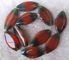 """About 20x40mm Red  Green Oval Agate Loose Beads Stone 15.5 """""""