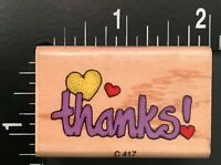 THANKS SCRIPT WITH HEARTS Hero Arts Wood Mounted Rubber Stamp
