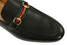 NEW GUCCI LUXURY BLACK LEATHER HORSEBIT WEB LOAFERS CASUAL DRESS SHOES 11/11.5