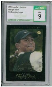 2003 Upper Deck Renditions #88 Tiger Woods The Champions Lounge CSG 9 Mint BZ698