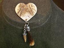 VINTAGE JEWELERY SCOTTISH CELTIC DEER HORN & BADGER FUR HUNTING PLAID BROOCH PIN