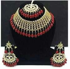 Indian Kundan Choker Ruby Necklace Earrings Tikka Fashion Jewelry Pearls Set
