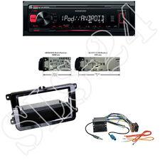 Kenwood KMM-204 USB Radio + VW Touran T5 Multivan Blende Quadlock ISO Adapterset