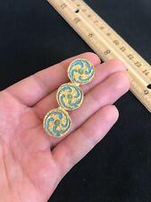 "Vintage Alva Museum Replica Blue Gold Enamel Circle Swirl Brooch Pin -2.25"""