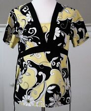 Cherokee  Size S Yellow Black White SS Scrub Top Rear Sash Womens Small EUC
