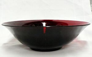 "VINTAGE ANCHOR HOCKING GLASS DEEP RUBY RED 11.5"" BOWL"