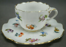Donath Dresden Hand Painted Scattered Flowers & Gold Demitasse Cup & Saucer C