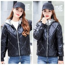 Lady Hooded Puffer Coat Jacket Wet Look Padded Quilted Outerwear Winter Warm Top
