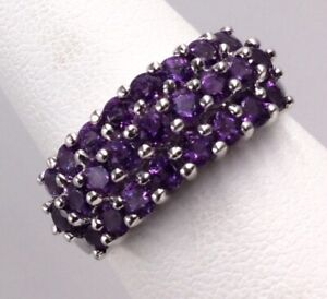 10K WHITE GOLD 1.00TCW AMETHYST TRIPLE ROW BAND RING SIZE 7