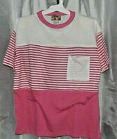 Star Wear Womens Pink/White Short Sleeve Crew Neck T-Shirt Blouse Size M