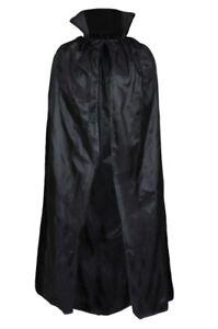 "BLACK VAMPIRE CAPE DRACULA 56"" HALLOWEEN FANCY DRESS COSTUME ADULT LONG CLOAK"