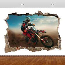 Motocross Dirt Bike Extreme Sports 3D Mural Decal Wall Sticker Poster Vinyl S306