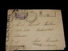 Vintage Cover, GENOA, ITALY, REGISTERED, WWI CENSORED,1918, To San Francisco, CA