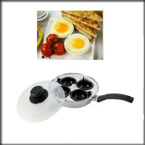 New 4 Hole Egg Poacher Steamer Cooking Pan With Cup & Lid Poach Non Stick U.K.