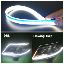 "2x 60cm 24"" Flexible Car Flowing LED Turn Signal Fog Lamps DRL Strip Amber+White"