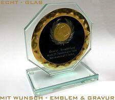 Glas - Trophäe inkl. Wunsch Emblem & Gravur Echt-Glas - Pokale Medaillen Ersatz