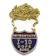 ICED OUT INTERSTATE I-10 DOPE ZONE PENDANT & 4mm MIAMI CUBAN CHAIN.