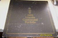LINCOLN 1988  CONTINENTAL Portfolio Brochure LOT - RARE