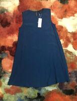 Nwt Women Eileen Fisher Blue Sleeveless Knee A-line Nile Rndnk Dress Sz Xxs