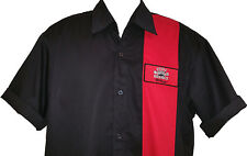 Rockabilly Mens Black & Red Garage Hot Rod Rock & Roll Bowling SHIRT size XL