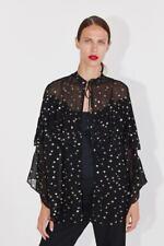 ZARA Ladies Metallic Thread Polka Dot Jacket In Black/Gold Size M/L BNWT RRP £49