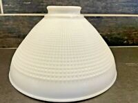 Vtg Lamp Shade Light CORNING? White Milk Glass Diffuser Waffle Torchiere 10""