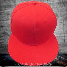 Snapback Baseball Plain Cap Funky Hip Hop SP Retro Classic Vintage Flat Hat Lot Red 5x