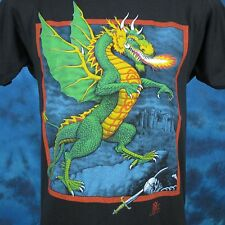 vintage 80s FIRE BREATHING DRAGON PAPER THIN T-Shirt S medieval fantasy cartoon