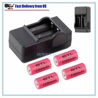4x 2300mAh 16340 Rechargeable Li-ion Battery For LED Flashlight+CR123A Charger H