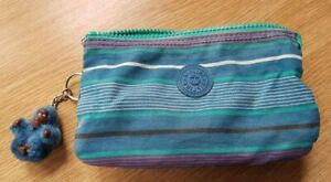 Genuine Kipling  small Makeup bag  blue/green striped.  with Venus the monkey